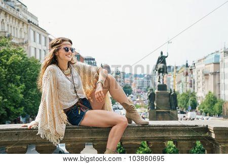 Happy Bohemian Woman Tourist Enjoying Sightseeing In Prague