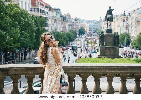 Hippy-looking Woman Tourist Standing On Wenceslas Square, Prague