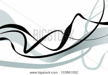 Abstract Art Vector. Abstract Background With Curvy, Curved Lines, Shapes.