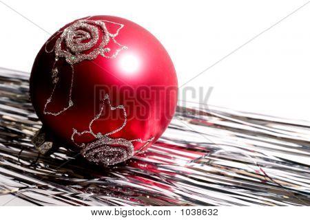 Red Christmas Ball And Spangle