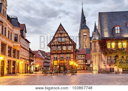 Half-timbered House On Market Square Of Quedlinburg