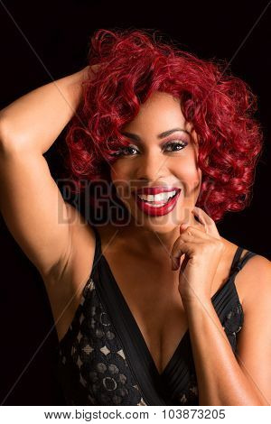 Beautiful african american woman with stylish red hair