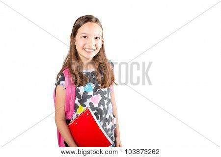 Little girl with backpack on her way to school isolated on white