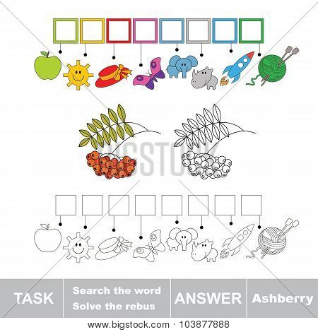 Vector game. Find hidden word ashberry. Search the word.