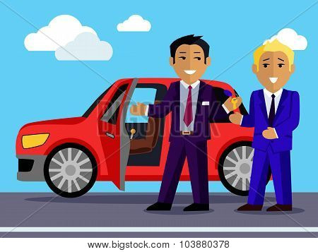 Illustration of Man Buys a New Car