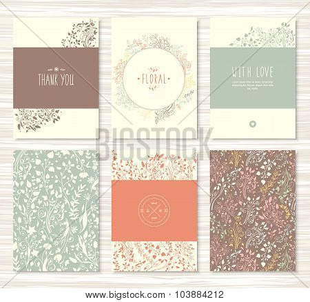 Flyers, brochures with floral, leaves, flower patterns