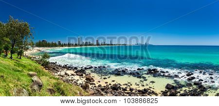 GOLD COAST, AUS - OCT 4 2015: Gold Coast skyline and surfing beach visible from Burleigh Heads, Queensland