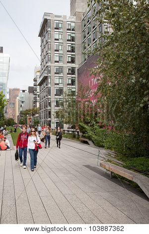 NEW YORK CITY, USA - SEPTEMBER, 2014: Highline Park New York City
