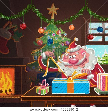 Interior Scene Of Cartoon Santa Claus Wrapping Gifts For Christmas