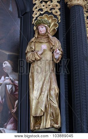 LEPOGLAVA, CROATIA - SEPTEMBER 21: Saint Teresa on the altar of Our Lady of Sorrows, parish Church of the Immaculate Conception of the Virgin Mary in Lepoglava on September 21, 2014