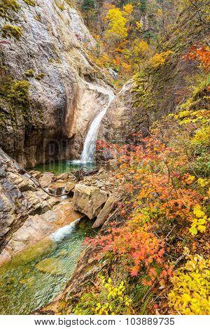 Fall Waterfall at Seoraksan National Park, South korea