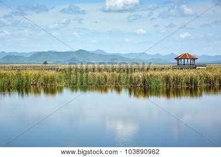 Scenic Landscape Of Lake And Mountain