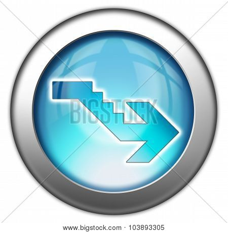 Image Icon Button Pictogram with Downstairs symbol poster