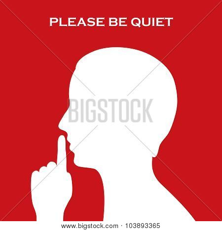 Please be quiet sign, vector clip art poster