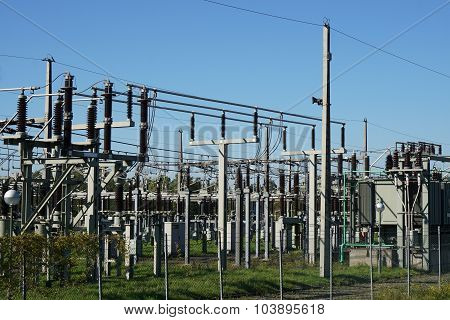 electrical substation or transformer station as part of a power plant poster