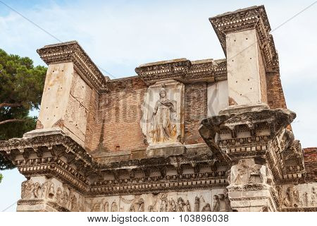 Remains Of The Temple Of Minerva, Rome, Italy