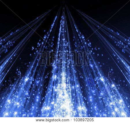 Abstraction with laser beams and flare sparks and the stars are shining in the darkness, blue monoch