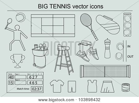 Set of big tennis icons. Vector illustration of sport symbols in flat style on grey background.