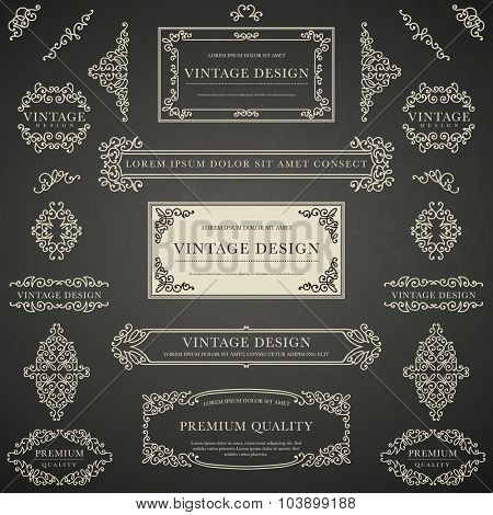 Set of beige decorative vintage design elements for label, logo, emblem design on blackboard background