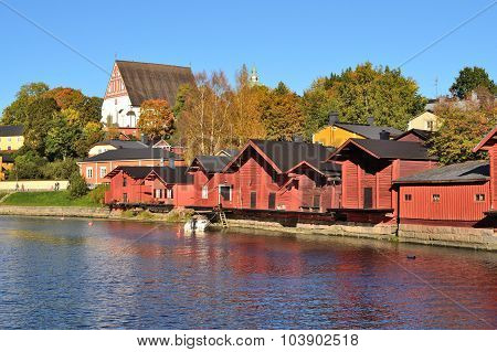 Porvoo Finland. The old wooden houses in a sunny autumn evening poster