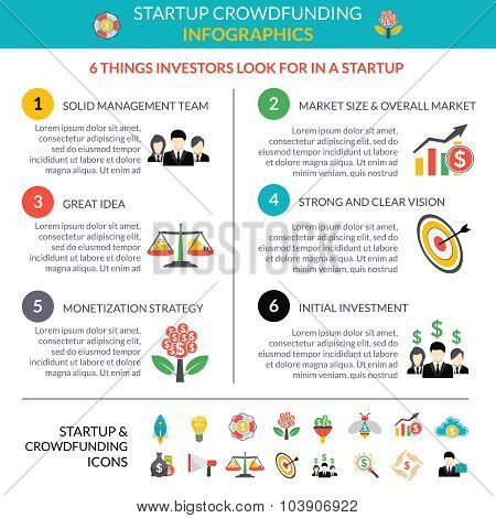 Business startup crowdfunding infographic layout poster with 6 important strategic hubs and pictograms symbols abstract vector illustration poster