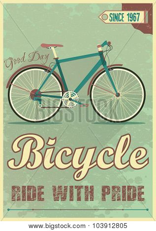 Vector poster with the bike in grunge style.
