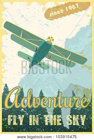 Biplane retro poster