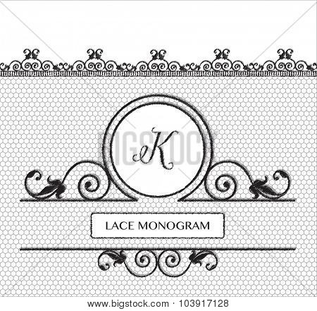 Letter K black lace monogram, stitched on seamless tulle background with antique style floral border. EPS10 vector format.