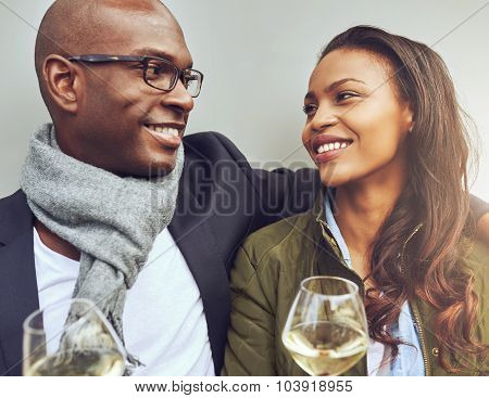 Romantic Young African Couple Enjoying Wine