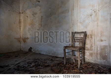 Interior Of An Abandoned Spooky Empty Room