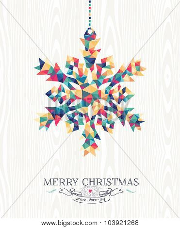 Merry Christmas Hipster Triangle Snowflake Wood
