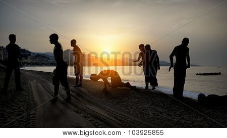 3d Migrants on the beach