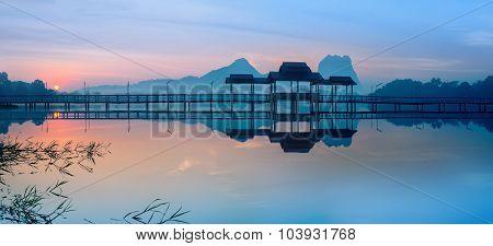 Bridge And Pavilion On Lake At Sunrise Park. Hpa-an, Myanmar (burma)
