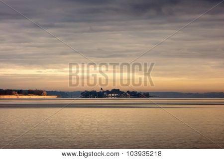 Lake Chiemsee With Island Herreninsel