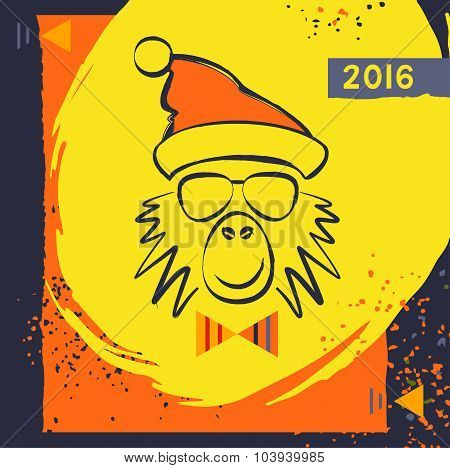 Hipster christmas red fire monkey.