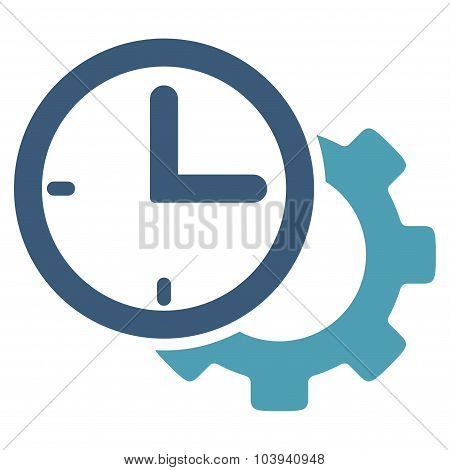 Time Setup vector icon. Style is bicolor flat symbol, cyan and blue colors, rounded angles, white background. poster