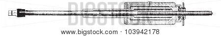 Longitudinal section of the press cylinder, vintage engraved illustration. Industrial encyclopedia E.-O. Lami - 1875.