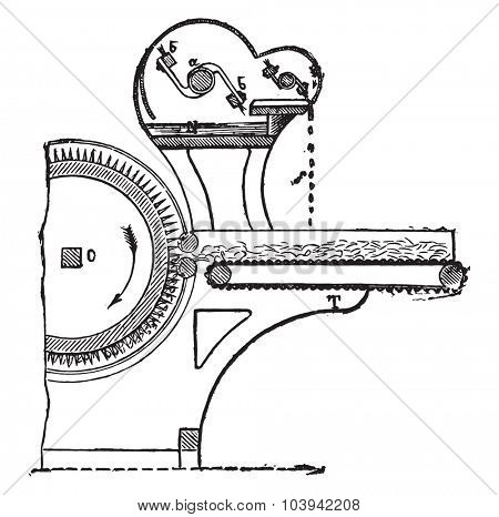 Automatic lubricator Mr. Houget and Teston, vintage engraved illustration. Industrial encyclopedia E.-O. Lami - 1875.