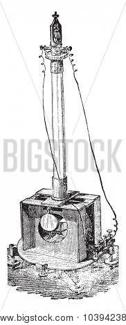 Electrodynamometer by Weber, vintage engraved illustration. Industrial encyclopedia E.-O. Lami - 1875.