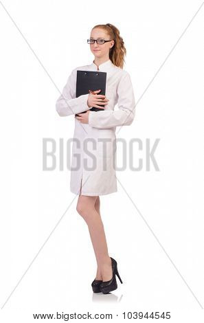 Pretty female doctor holding diary isolated on white poster