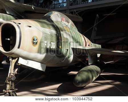 BRUSSELS-OCT. 1: A historic antique f 84 f thunderstreak military antique airplane is seen on display Royal Museum of the Armed Forces and of Military History Cinquantenaire Park of the Fiftieth Anniversary Brussels Belgium on Oct. 1, 2015.