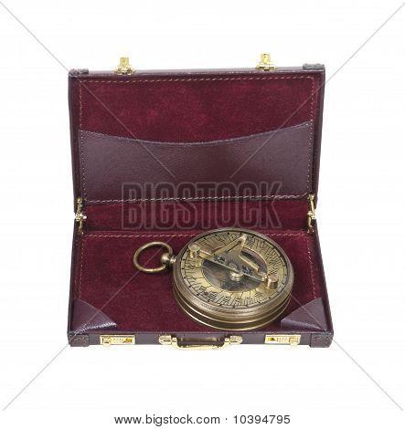 Brass Sundial In A Briefcase