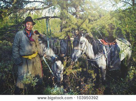 Mongolian Tsataan Horses Tranquil Solitude Nomadic Concept poster