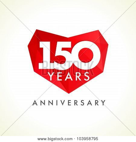 Anniversary 150 years old hearts celebrating vector logo. Birthday greetings, stained-glass frame, heart shape. Lovely stained one hundred fifty celebrating, 150 th. Luxurious 15th, 50th, 10th facet.