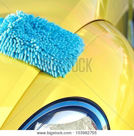 Car with wax and polish cloth. Waxing and polishing. poster