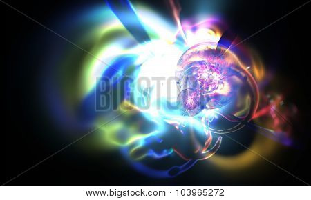 Abstract blurred an astronomical nebula magnetic storm on supernova. Fractal art graphics