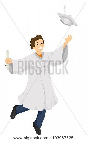 Illustration of a High School Graduate Flinging His Graduation Cap