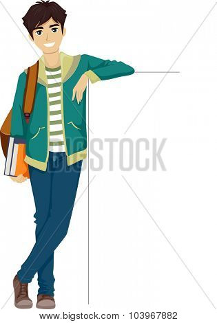 Illustration of a Teenage Boy Leaning Against a Blank Board