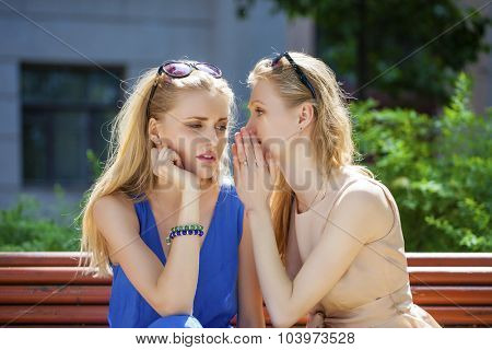 Close up portrait of Two young beautiful women sharing secret at summer green park