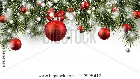Winter banner with spruce twigs and red baubles. Christmas vector illustration with place for text.